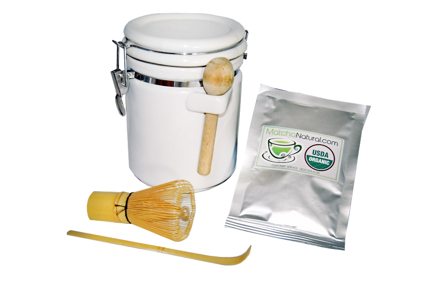 Combo Deal - Matcha Natural Storage Ceramic Jar Canister with Clamp Top Lid and Wood Spoon + 50g Matcha Natural Green Tea and Whisk and Spoon